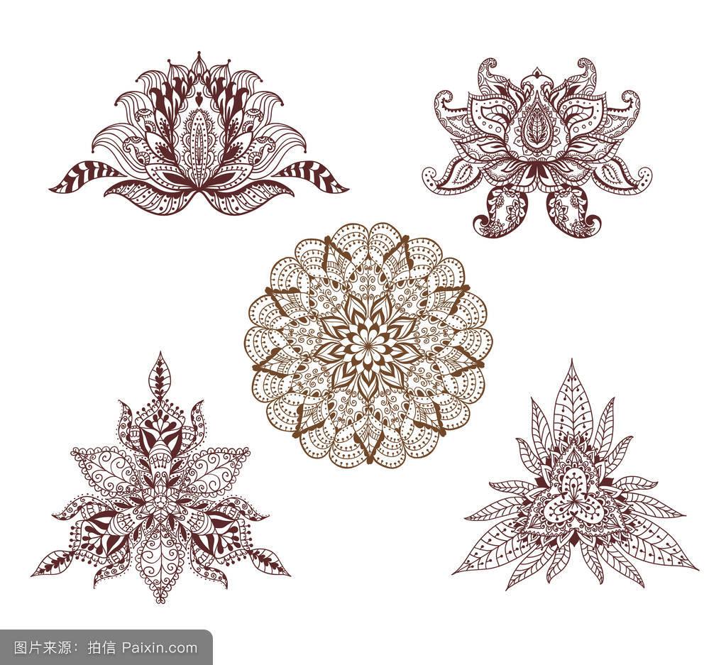 曼陀罗花纹身手稿黑白分享展示图片