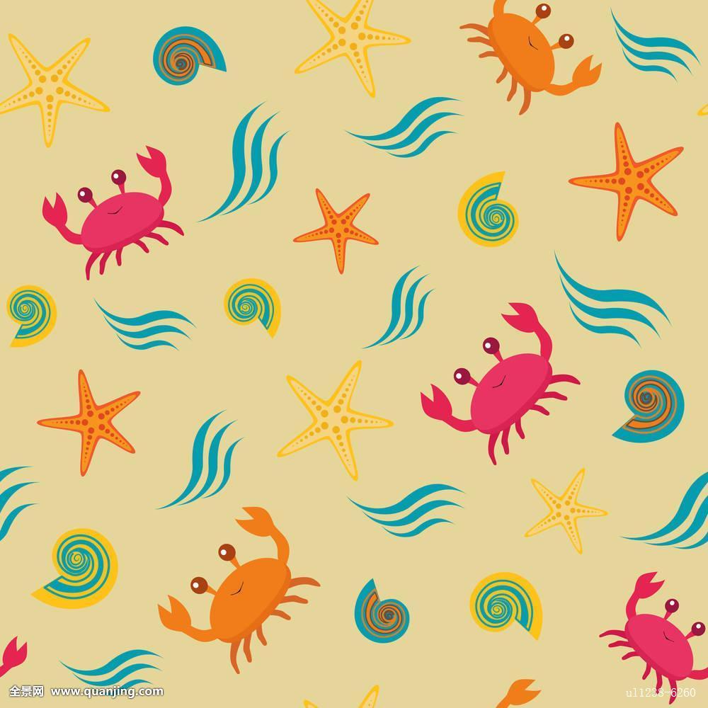 背景,螃蟹,海洋,图案,水生,生活,无缝,热带,动物,水族箱,装饰,插画图片