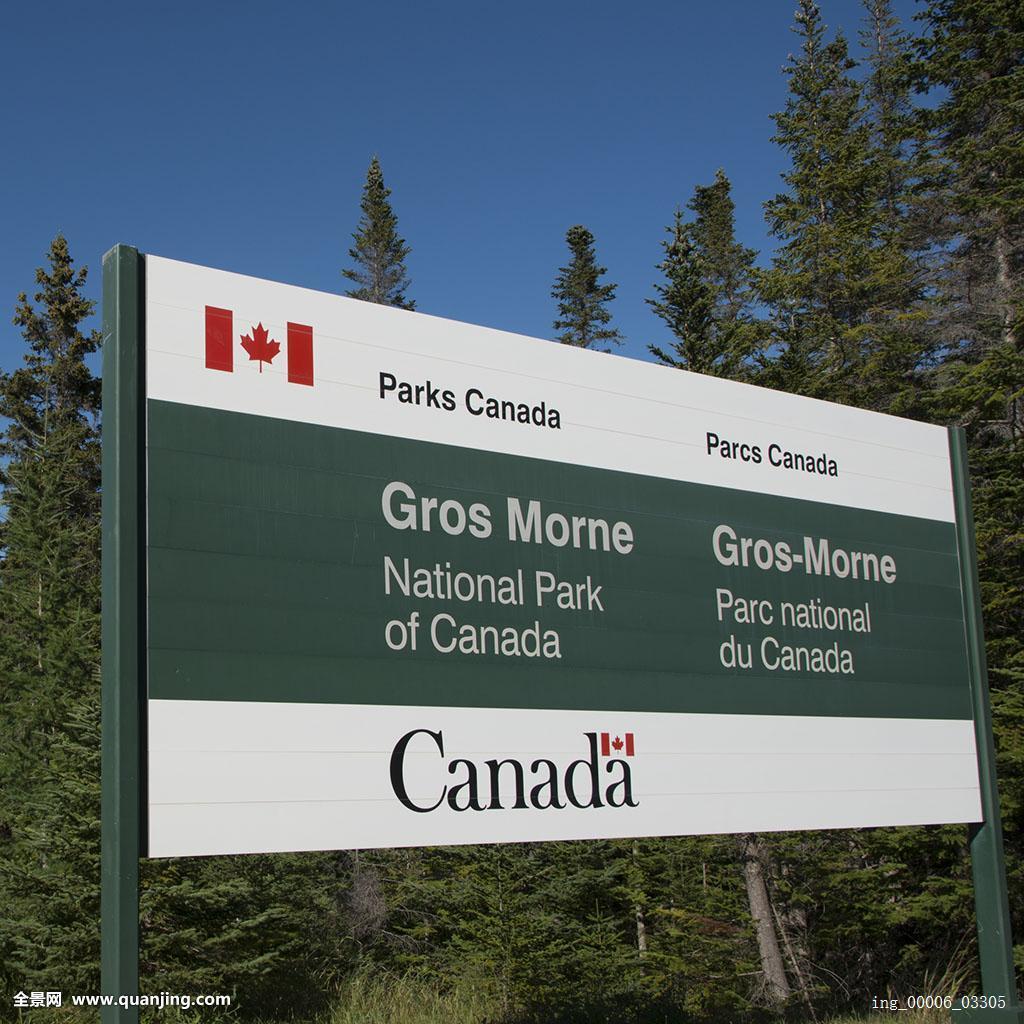 广告牌,格罗莫讷国家公园,纽芬兰,拉布拉多犬,加拿大图片