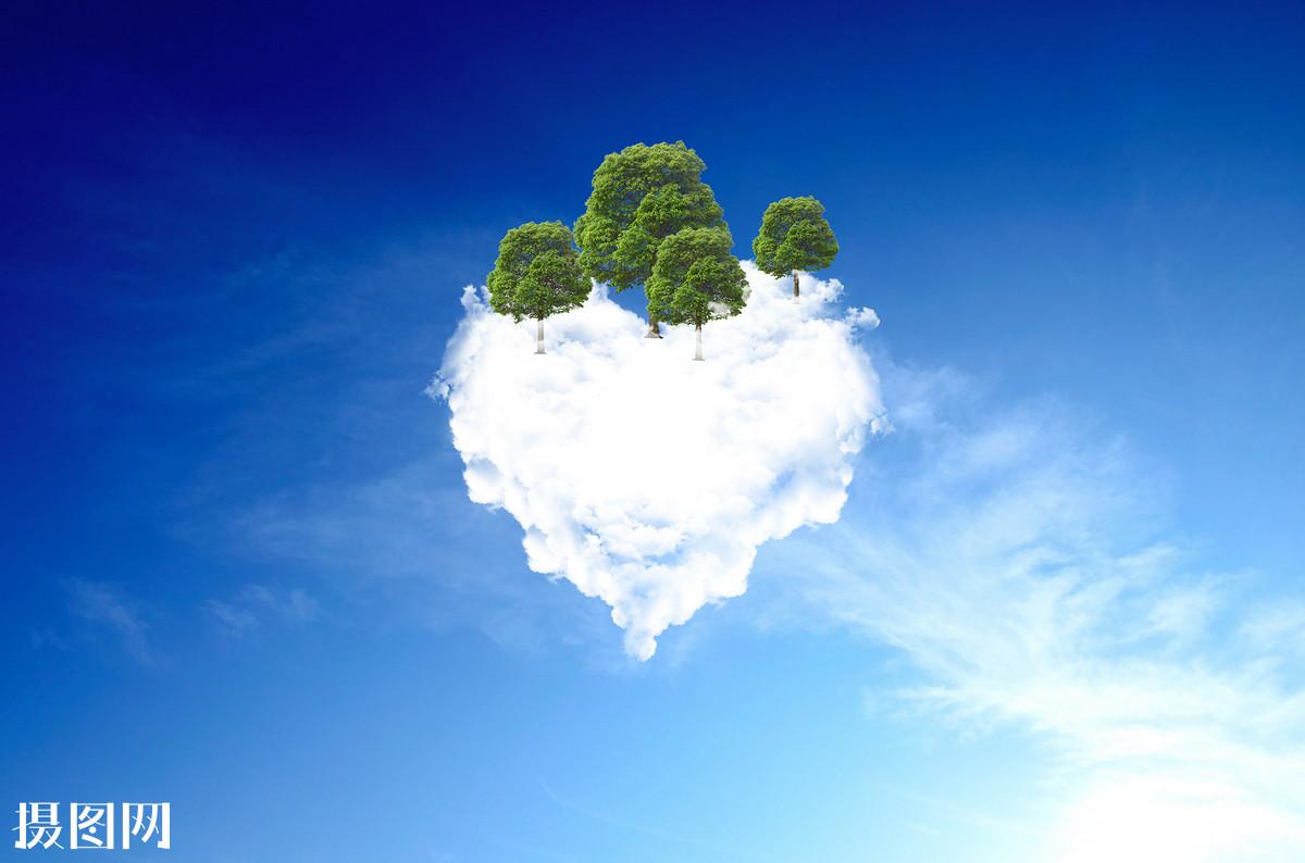 云,心形,创意,大树,,设计,素材,海报,天空,湛蓝,云朵,上升,下载,节约图片