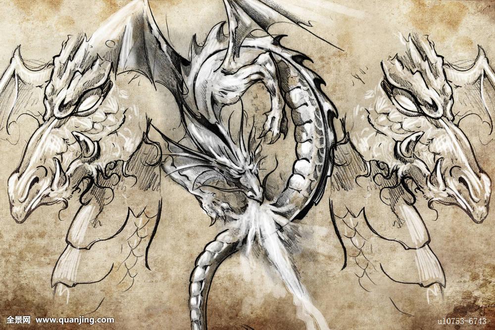 日本,传说,魔幻,怪兽,神话,新,图案,红色,剪影,灵性,纹身,传统,部族图片