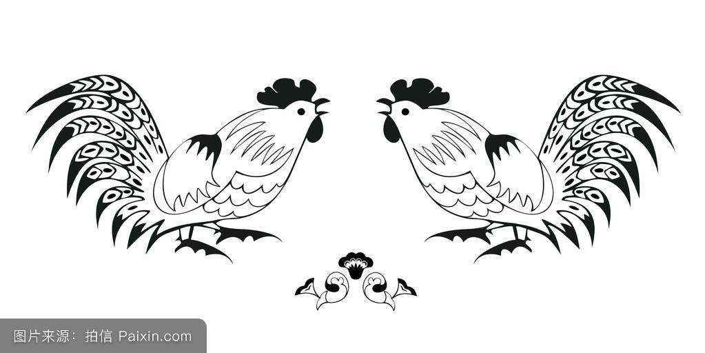 邀请函星座瓷器横幅矮脚鸡素描庆典羽毛贺卡装饰小公鸡图片