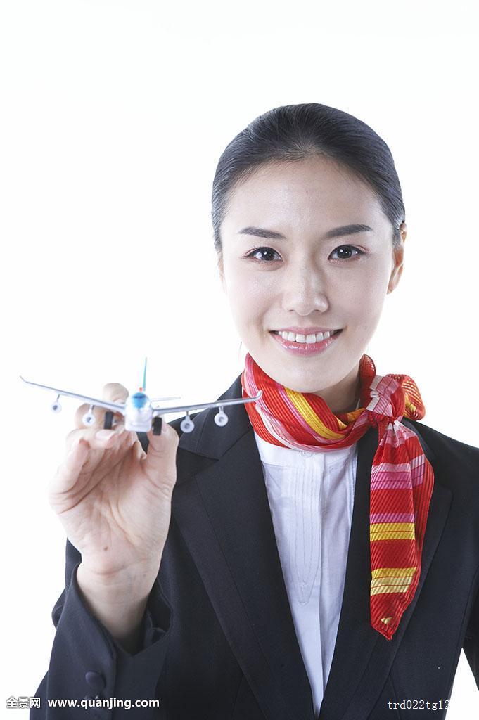一个,白色背景,亚洲人,模型,微笑,飞机,人,上半身,围巾,空乘人员,女性图片