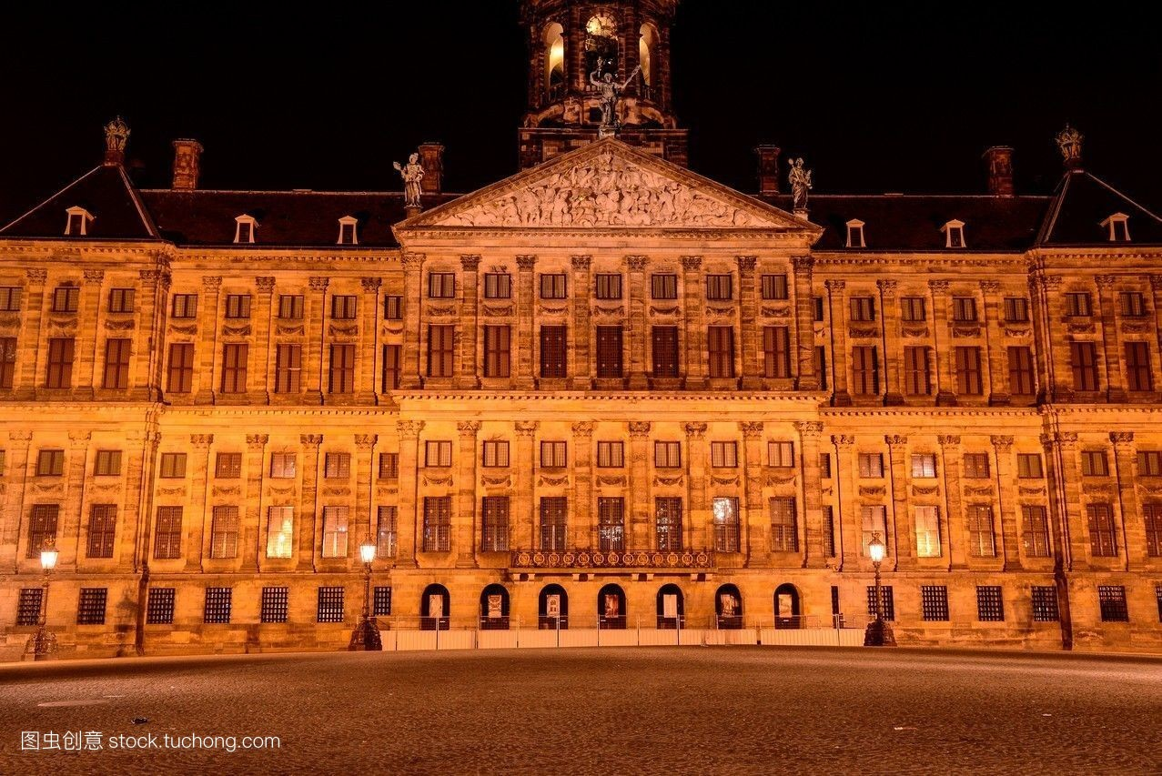皇宫,荷兰,地标,欧洲,雕刻,阿姆斯特丹,钟,面积,浅浮雕,水坝,夜晚图片