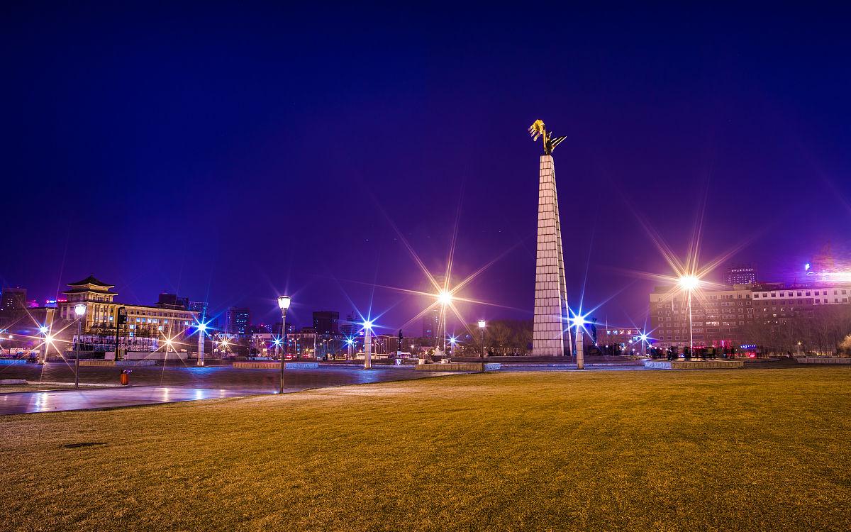 长春市文化广场夜晚广角