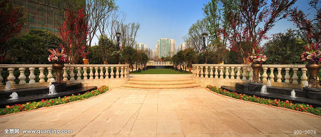 住宅,小区,花园,公园,小区环境,水池,喷泉,宽敞,干净,树,花,绿化好图片