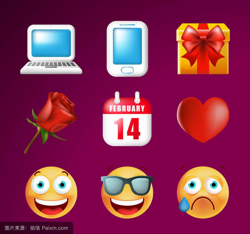 表情符号,现实,剪辑艺术,头,收集,智能手机,十四,图标,花,二月,幸福图片