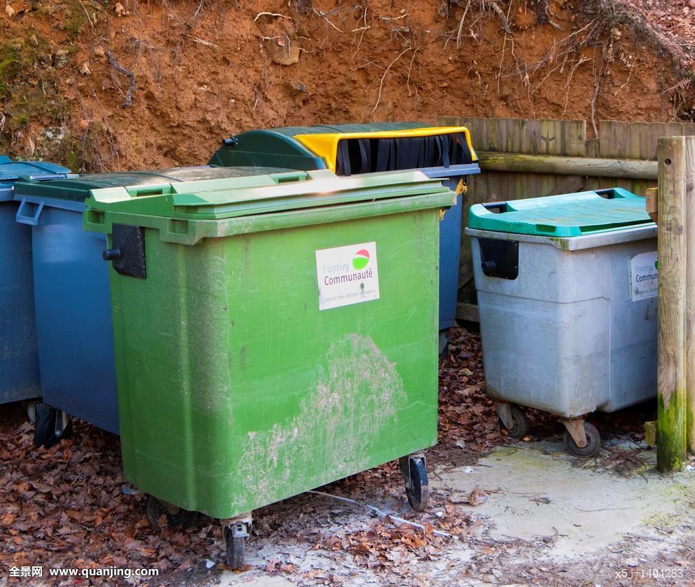 垃圾桶,旁侧,道路,乡村,布列塔尼半岛,法国图片