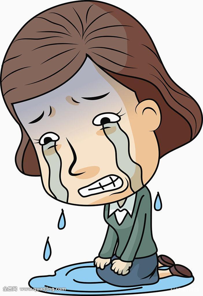 一个,只有一个女人,女性,眼泪,哭,皱眉,表情,情感,对话气泡框,跪着图片