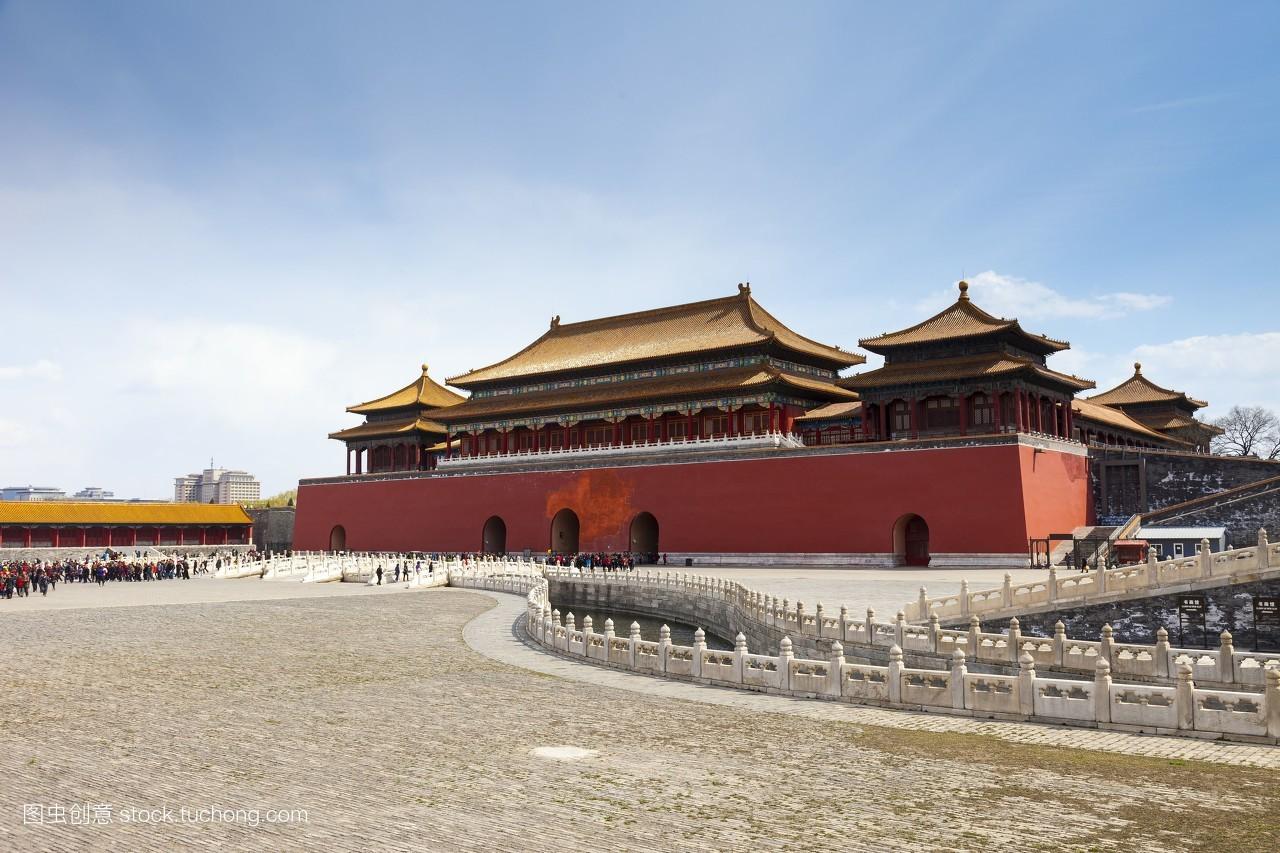 威严,首都,人群,亚洲,皇宫,午门,金水桥,屋檐,中国红,地面,标志建筑图片