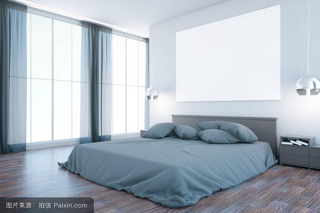 致使,床,创造性的,里面,3d,内部,没有人,全景,卧室,阁楼,空间,设计图片
