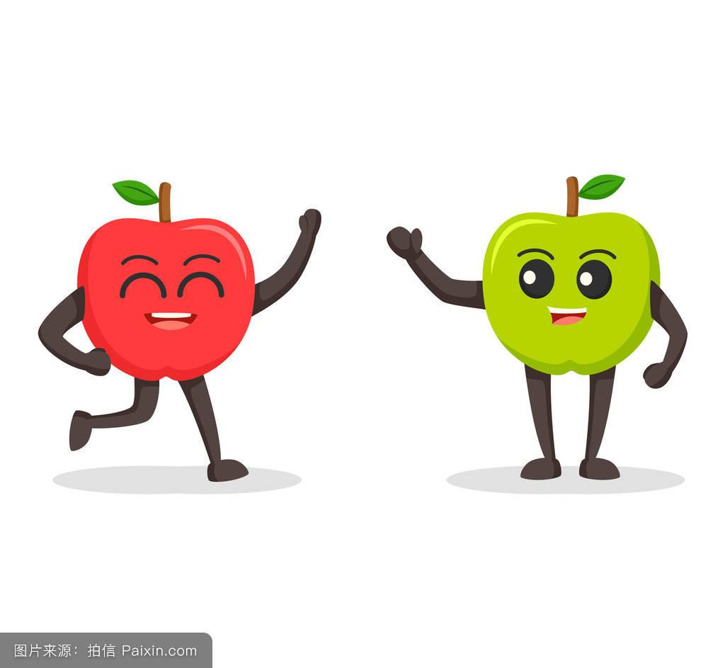 卡通,性格,新鲜的,面对,成熟的,叶,自然,矢量,甜点,健康的,打招呼图片