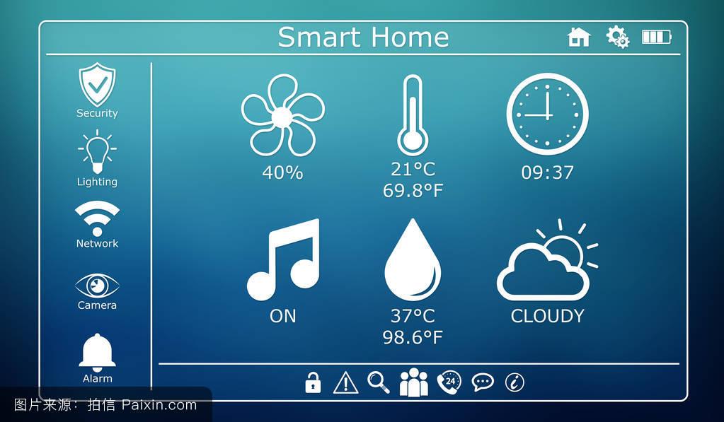 三维渲染的现代数字智能家居界面图片