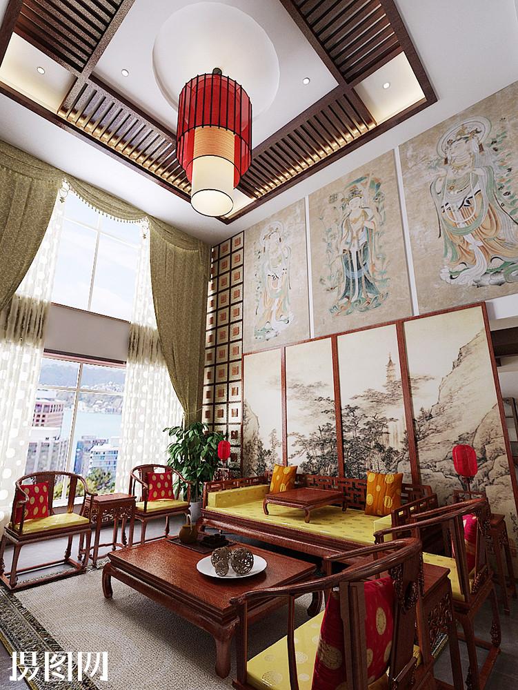客厅,客厅效果图,新中式,中式效果图,中式,家装效果图,效果图,红色图片