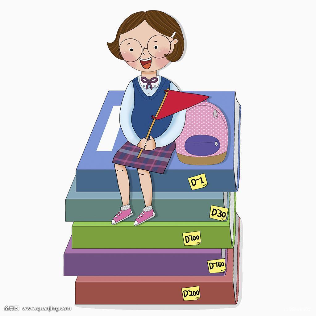 高三学生�y..�.��(N�_插画,人,教育,大学,学习,技能,测验,女性,女生,学生,高中生,一个人