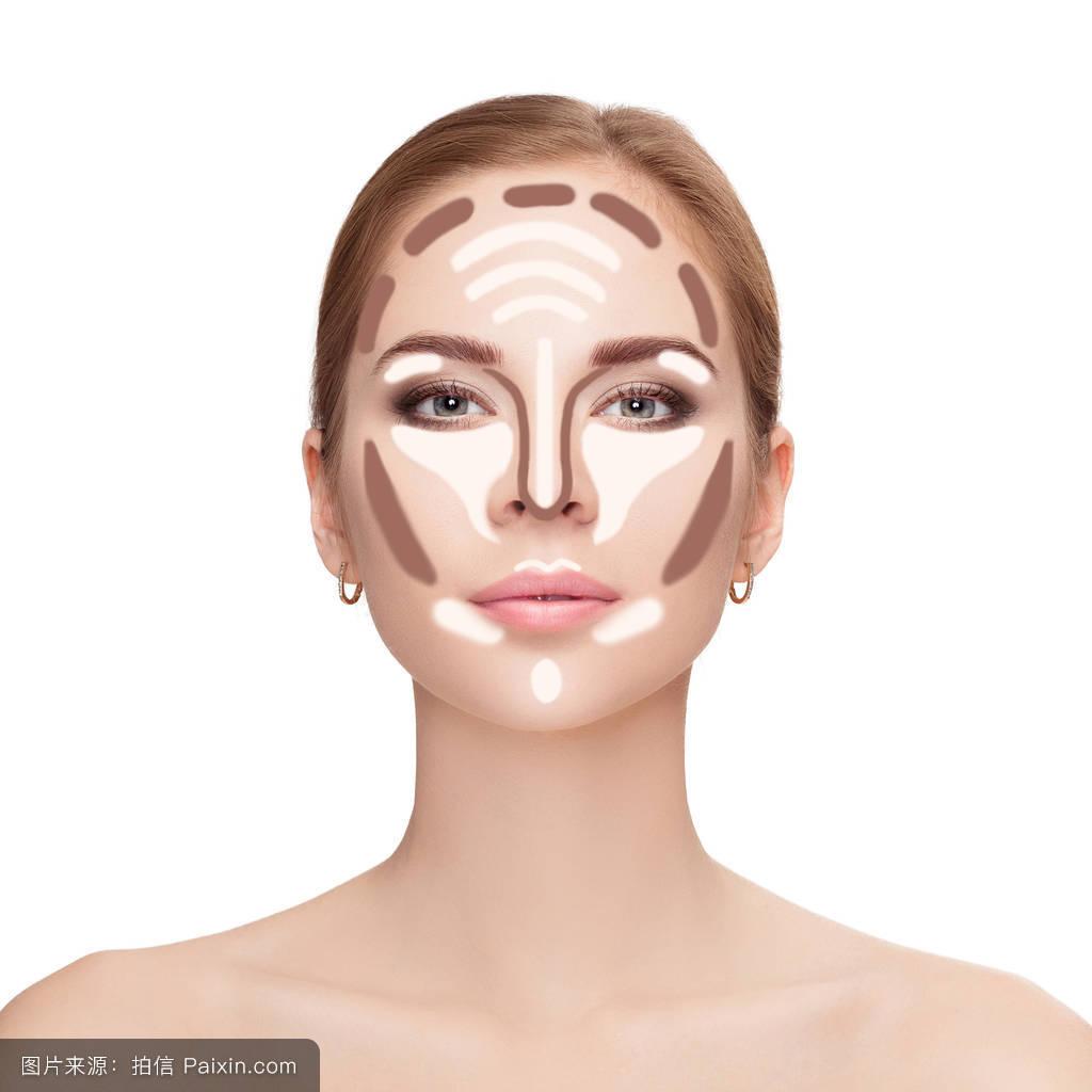 化妆,美丽的,面对,古铜色,女人,造型,应用,腮红,粉,形状,完善,颧骨图片