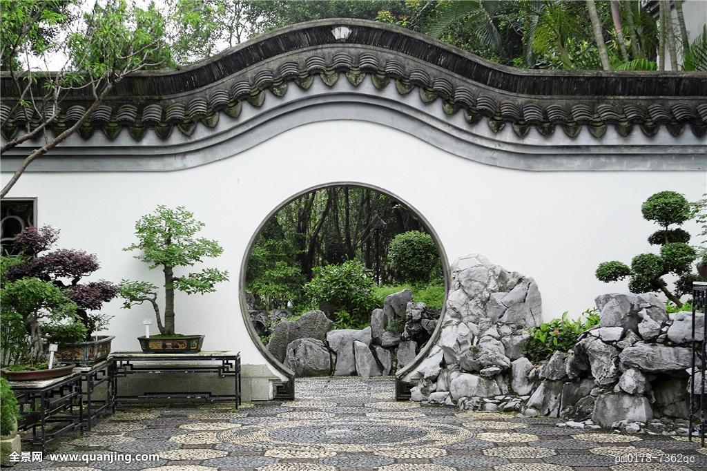 圆,入口,中式花园,香港图片
