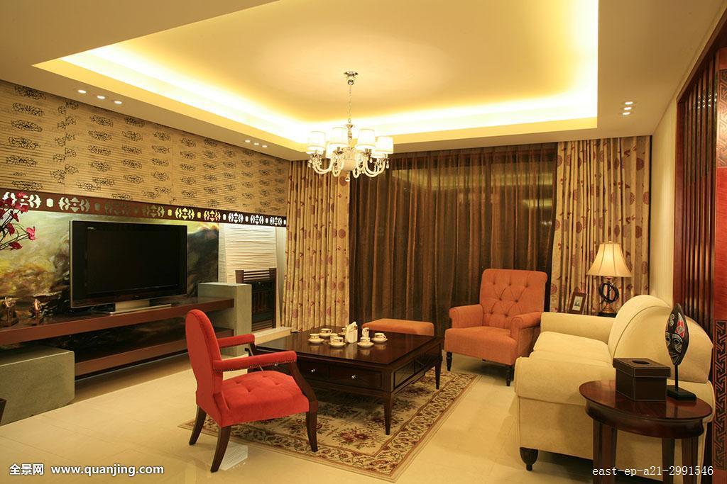 水平构图,时尚,客厅,地毯,画,整洁,相框,彩色图片,装饰,台灯,沙发图片