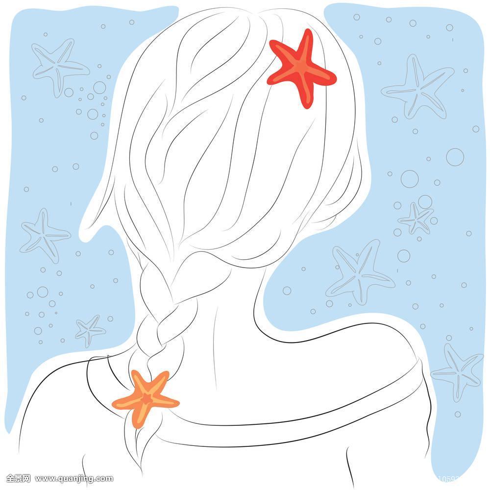 长卷发女孩背影简笔画分享展示图片
