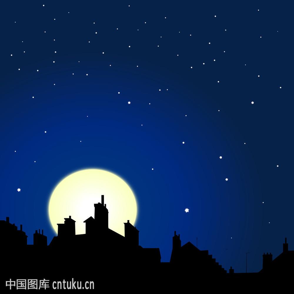 黑色,黄色,蓝色,轮廓,凝视,天空,天空背景,屋顶,乡村,星星,夜晚,月亮图片