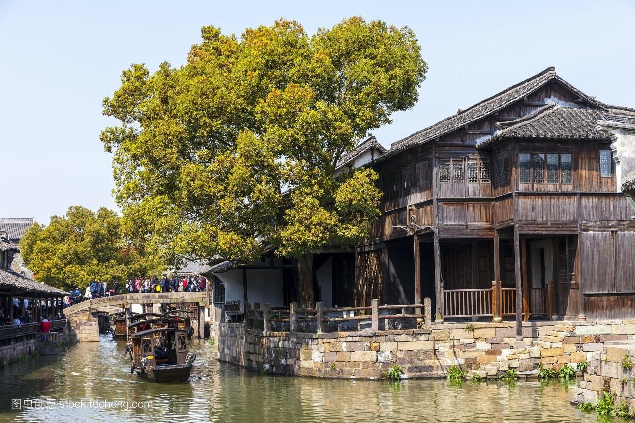 小舟,船舶,水巷,乌镇,河流,木舟,河水,小河,水流,房屋,木房子,徽派图片