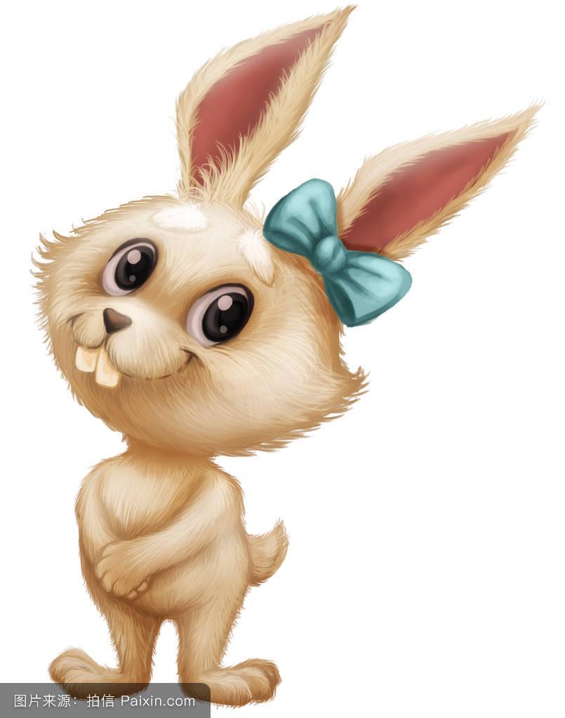 可爱的毛绒兔子——卡通动物吉祥物,大眼睛,灿烂的笑容.图片