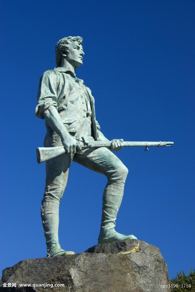 仰视,雕塑,莱克星顿,战斗,绿色,马萨诸塞,美国图片