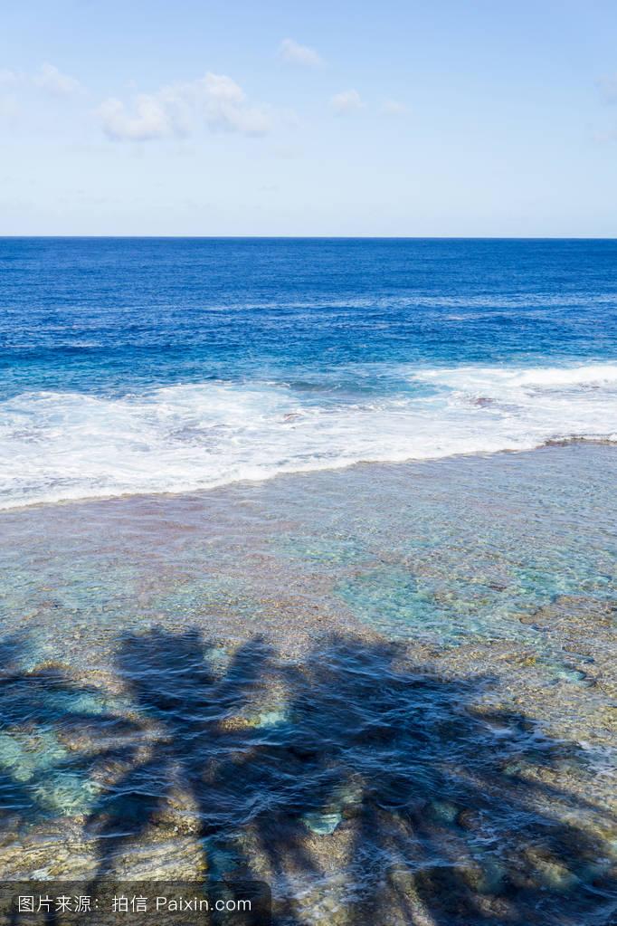 天空复制空间海景蓝色tamakautoga纽埃景观棕榈树珊瑚热带