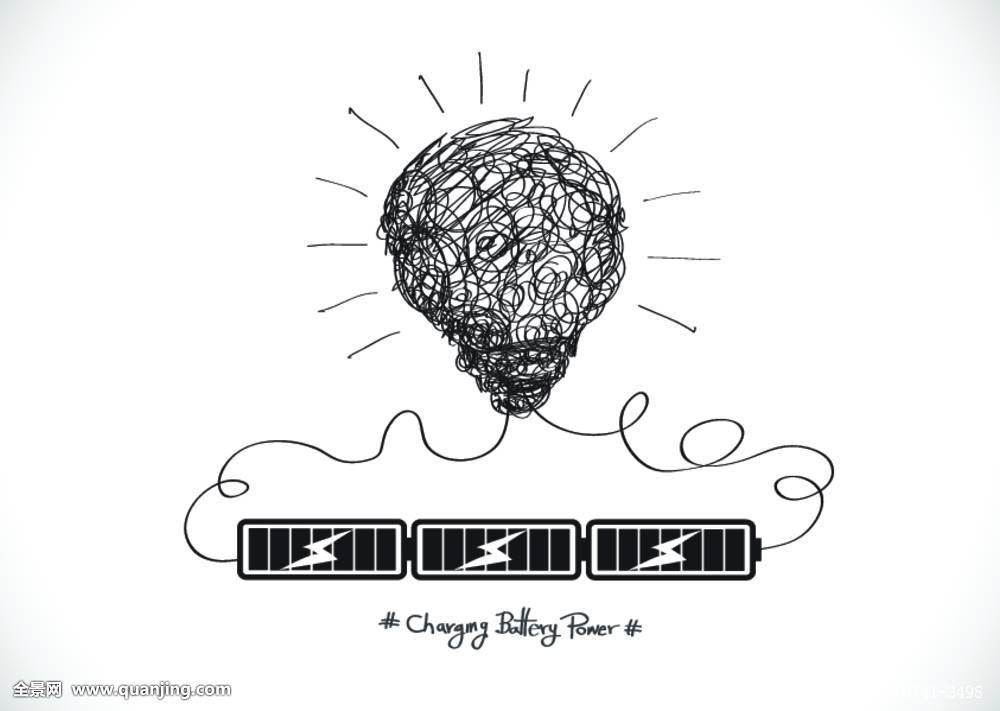电池,灯泡,商务,充电器,概念,创意,设计,电,能量,燃料,满,象征,插画图片