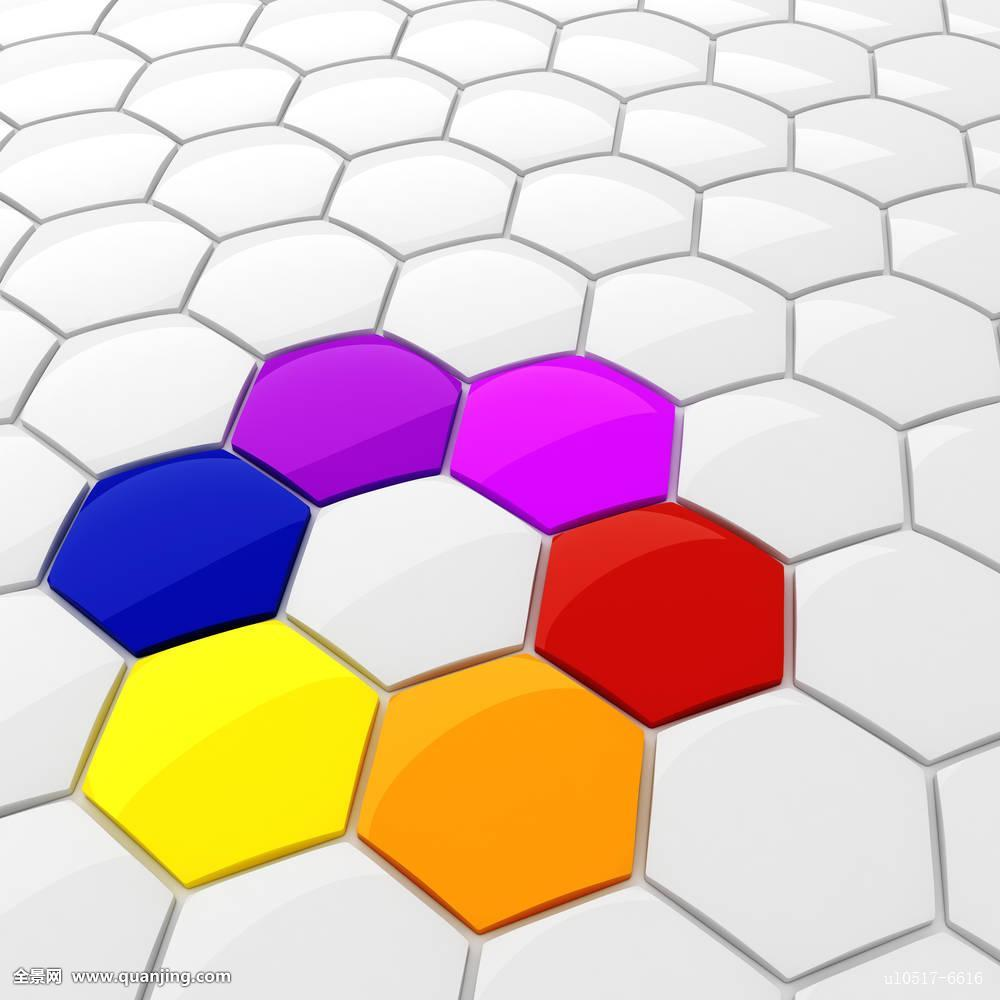 蓝色,鲜明,商务,蜂窝,圆,收集,彩色,概念,创意,装饰,设计,数码,几何图片