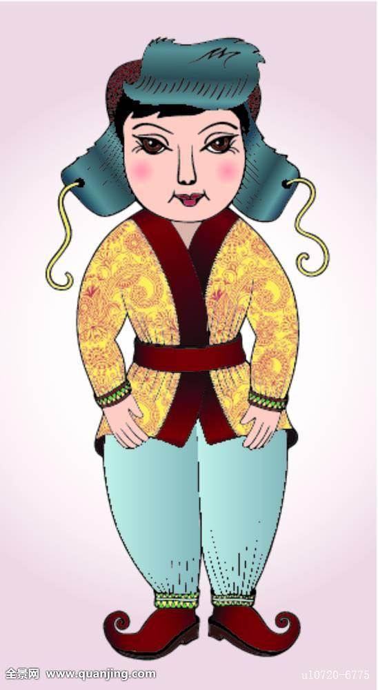 蒙古人,可爱,男孩,民族服饰图片