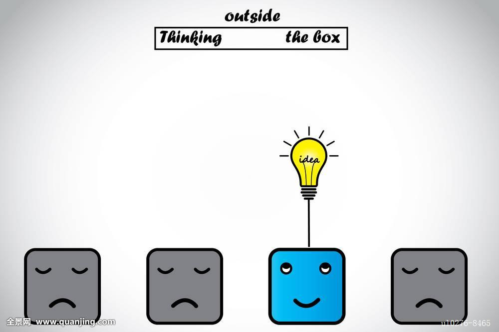 高兴,职业,思考,户外,盒子,灯泡,概念,蓝色,警惕,机智,创新,智慧,发光图片