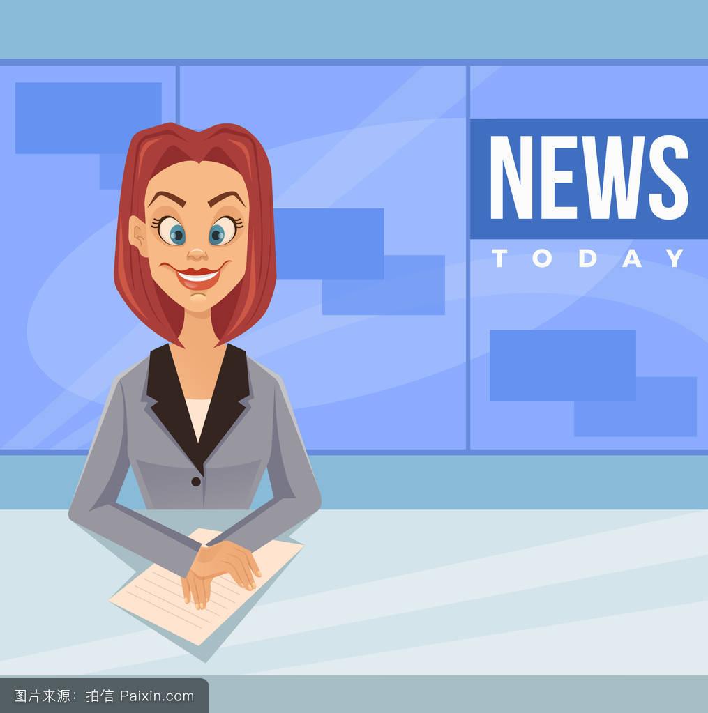 每日资讯_幸福微笑主播人物每日新闻.矢量平面卡通插画