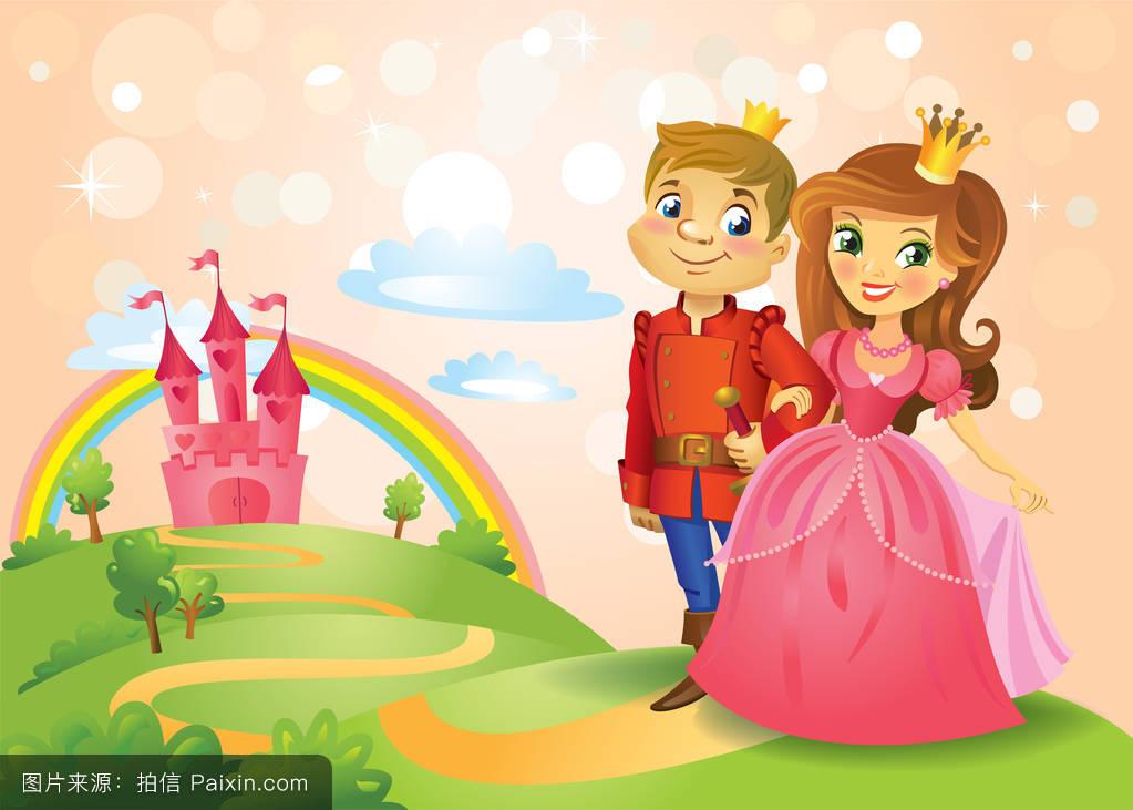 童话城堡和美丽的公主和王子图片