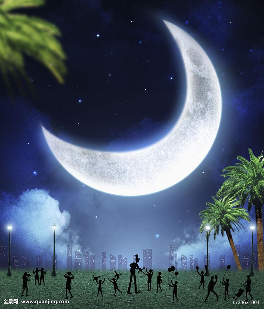 图像,数码合成,海报,跳蚤市场,人,树,植物,夜晚,夜空,天空,星星,月亮图片