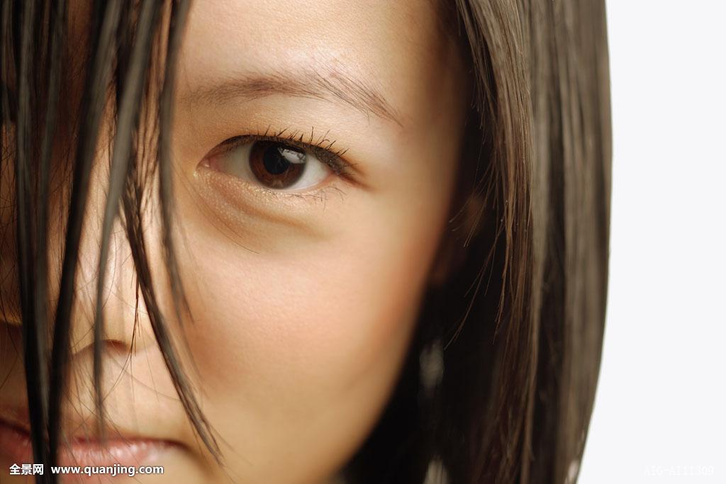 魅力,裸肩,美女,黑发,中国人,特写,彩色照片,遮盖,独特,女性,刘海图片