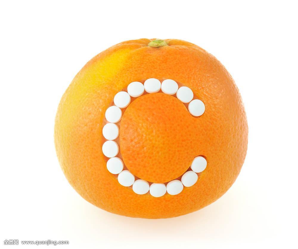 柚子,维生素c,药丸,上方,白色背景,概念图片