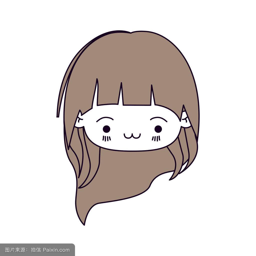 轮廓颜色部分浅棕色头发的可爱的小女孩,长头发的头部和面部表情疲惫图片