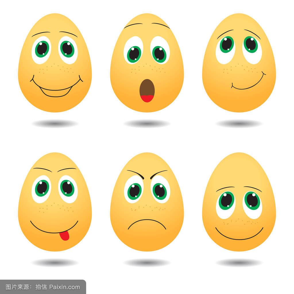 卡通,蛋黄,爱,性格,表情符号,极度惊慌的,面对,大声笑,矢量,分离图片