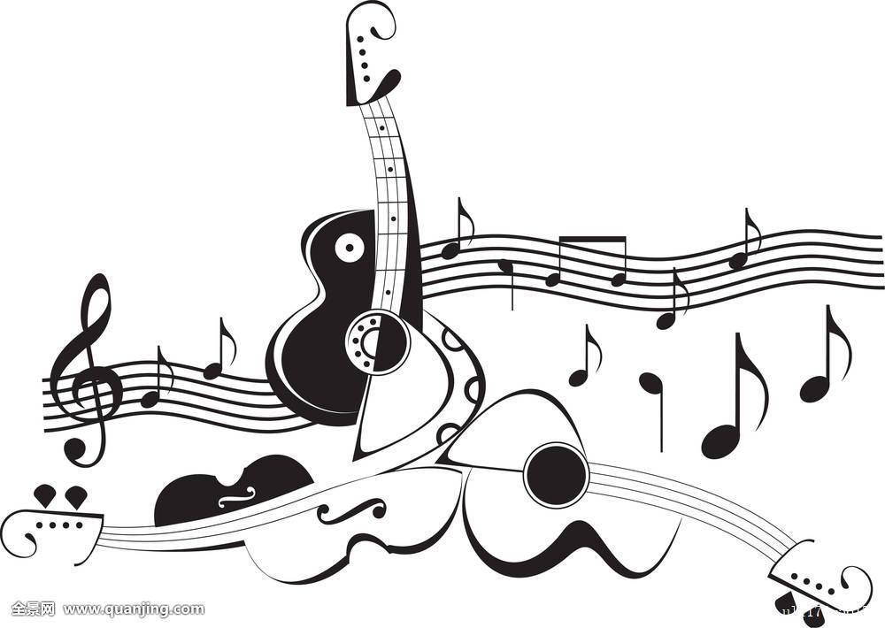 轮廓,纹身,吉他,小提琴,中提琴,弦乐器,乐器,低音乐器,声音,指挥,音符图片