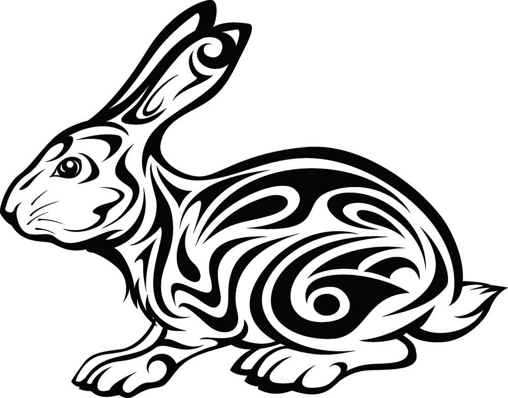 纹身,兔子,部族,新,隔绝,装饰,白色,中国,文化,象征,财富,东方,装潢