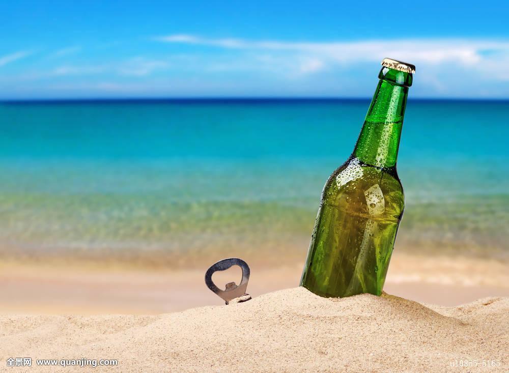 啤酒,海滩,特写,海岸,桌子,软,热带,绿色,白色,海边,酒吧,旅行,酒精图片
