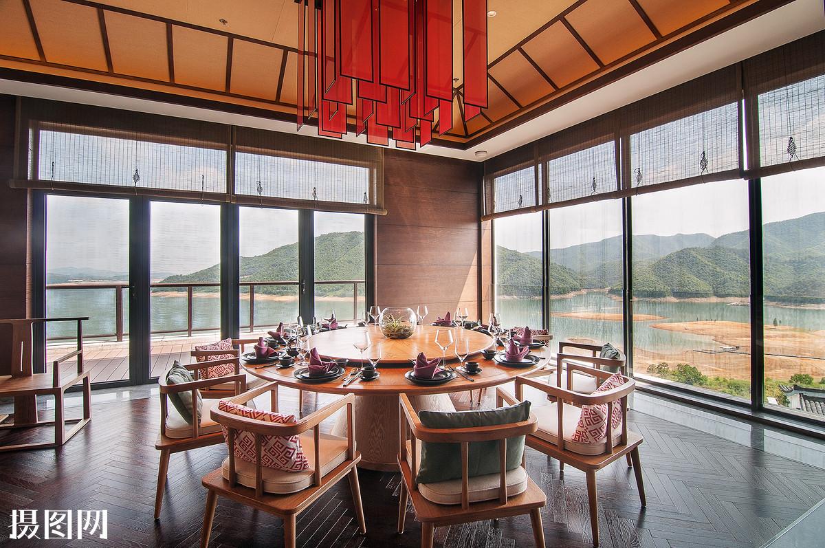 桌子,窗户,玻璃,中国古典风,新中式风格,餐厅,餐桌,景观,酒店,度假图片