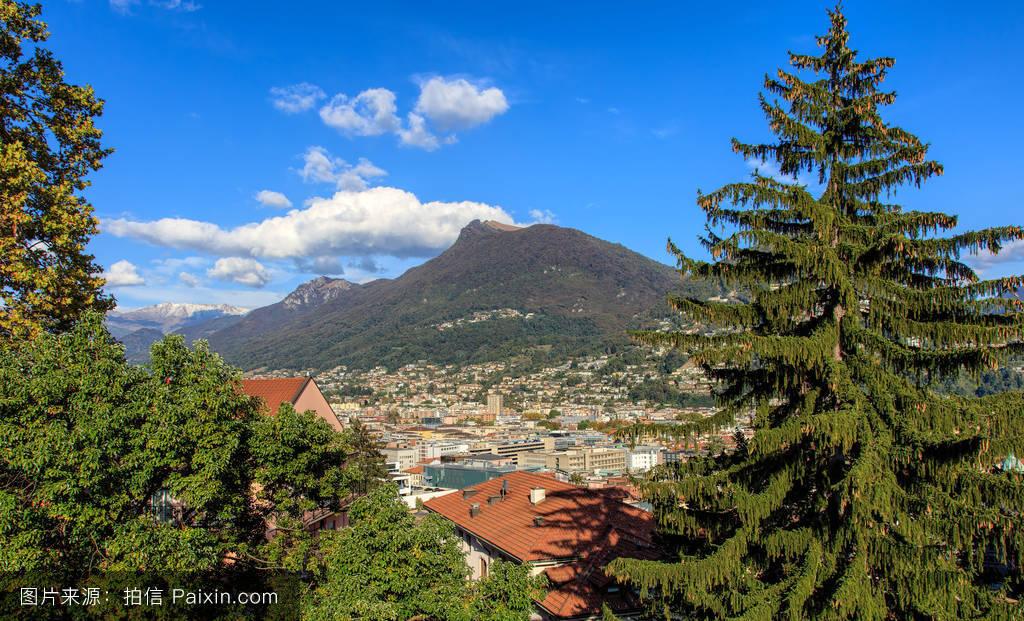 山���!�-��.�9`a�f-:##_景观,欧洲的,傍晚,瑞士,绿色,房子,树,峰,山,卢伽诺,白色,建筑,boglia