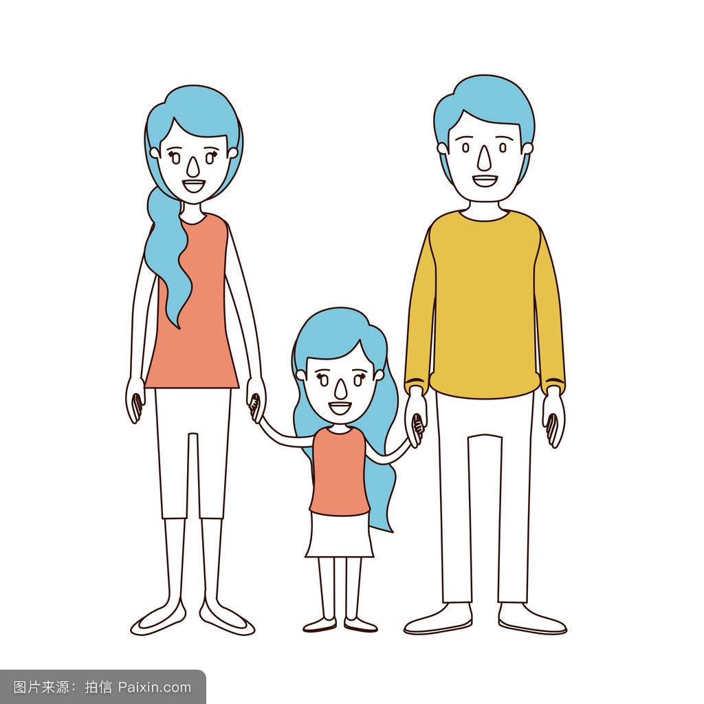 妈妈色爸爸色_漫画色段,年轻的爸爸,妈妈和小女孩带手侧马尾毛家蓝色的头发
