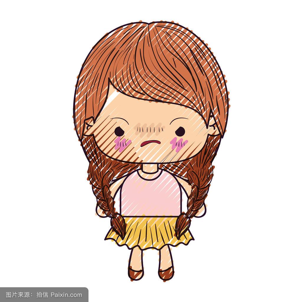 可爱的小女孩的辫子,表情愤怒的彩色蜡笔的剪影图片