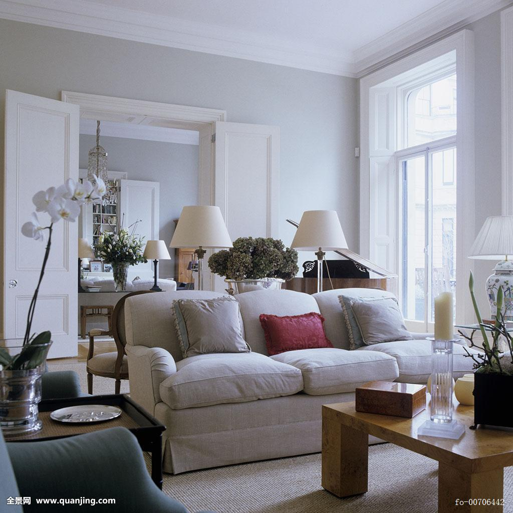 茶几,灯光,软垫,沙发,客厅,打开,晃动,门图片