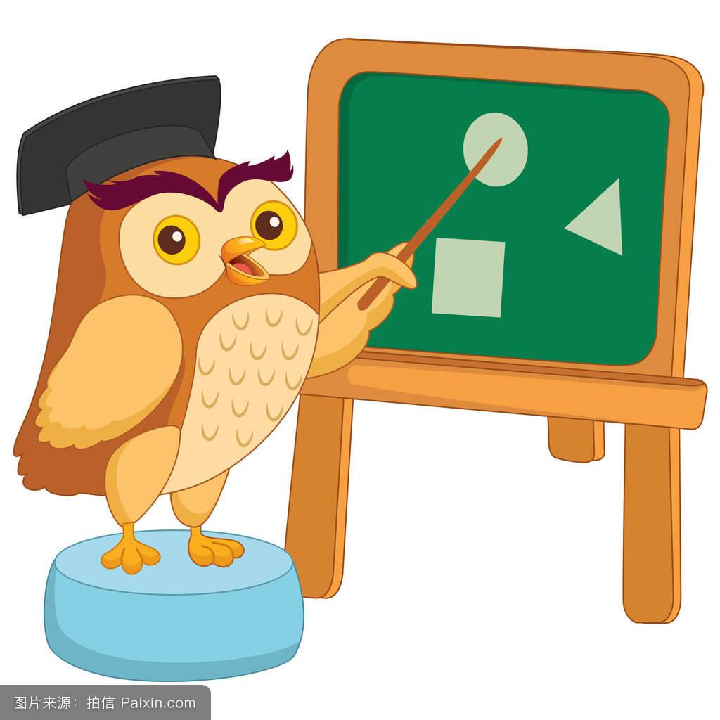 卡通化学家性格猫头鹰符号鸟数学演示学校绘画分离可爱的