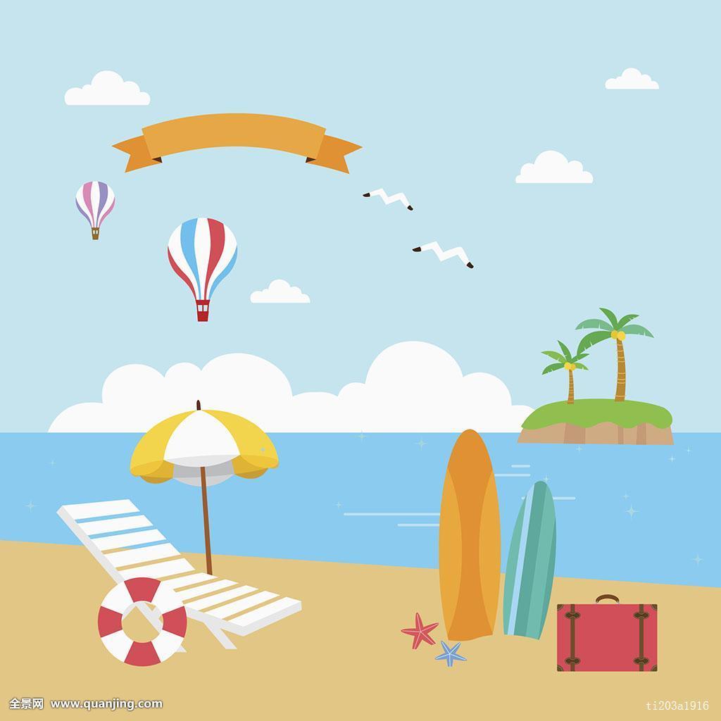 蓝色,夏天,季节,海洋,棕榈树,树,天空,风景,自然,云,海鸥,鸟,热气球图片