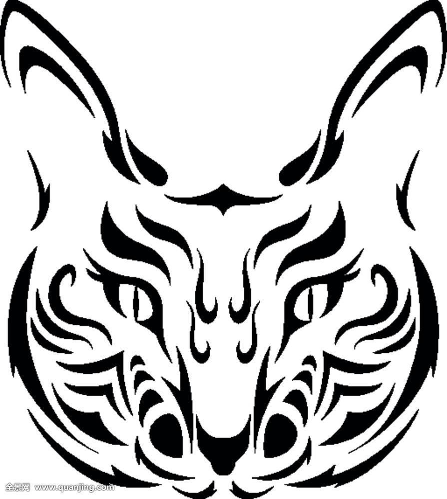 猫,脸,眼,小猫,刻花,动物,纹身,头部,黑色,白色,鼻子,隔绝,轮廓,哺乳
